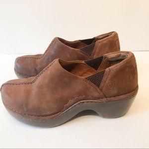 Ariat Clogs Slides Brown Suede Size 7 1/2